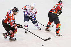 Andre Lakos of Austria vs ROK PAJIC of Slovenia during Friendly Ice-hockey match between National teams of Slovenia and Austria on April 19, 2013 in Ice Arena Tabor, Maribor, Slovenia. (Photo By Vid Ponikvar / Sportida)