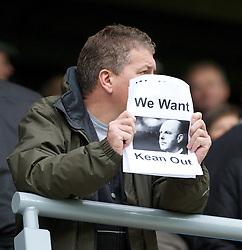 BLACKBURN, ENGLAND - Sunday, October 23, 2011: A Blackburn Rovers calling for 'We Want Kean Out' before the Premiership match between Blackburn Rovers and Tottenham Hotspur at Ewood Park. (Pic by Vegard Grott/Propaganda)