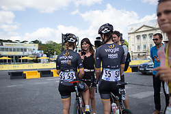 Orla Chennui interviews of Sky Lucy Garner (GBR) and Dani King (GBR) of Wiggle Hi5 Cycling Team before the La Course, a 89 km road race in Paris on July 24, 2016 in France.
