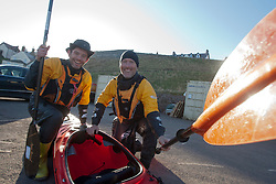 Richard Harpham and Glen Charles. Scottish Sun sports editor Iain King takes part in a practise session for his charity kayak challenge, in the waters of the harbour at St Abbs..Pic © Michael Schofield...