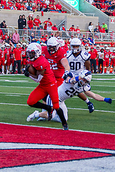 NORMAL, IL - September 04: Nigel White steps into the end zone for 6 points after getting past Kody Leach(DB) during a college football game between the Bulldogs of Butler University and the ISU (Illinois State University) Redbirds on September 04 2021 at Hancock Stadium in Normal, IL. (Photo by Alan Look)