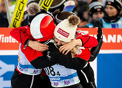 Jacqueline Seifriedsberger of Austria, Lisa Eder of Austria, Eva Pinkelnig of Austria and +83 celebrate after third place during Team Competition at Day 2 of World Cup Ski Jumping Ladies Ljubno 2019, on February 9, 2019 in Ljubno ob Savinji, Slovenia. Photo by Matic Ritonja / Sportida