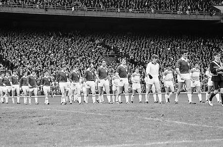 26.09.1971 Football All Ireland Final Galway Vs Offaly & Minor Final Mayo Vs Cork..Offaly.1-14.Galway.2-8.Offaly. ..M. Furlong, M. Ryan, P. McCormack, M. O'Rourke, E. Mulligan, N. Clavin, M. Heavey, W. Bryan (Captain), K. Claffey, J. Cooney, K. Kilmurray, A. McTague, J. Gunning, S. Evans, Murt Connor.Subs: J. Smith for N. Clavin; P. Fenning for J. Gunning.W. Bryan (Captain). ..Galway. .P. J. Smyth, B. Colleran, J. Cosgrove, N. Colleran, L. O'Neill, T. J. Gilmore, C. McDonagh, L. Sammon (Captain), W. Joyce, P. Burke, J. Duggan, M. Rooney, E. Farrell, F. Canavan. S. Leydon..Subs: T. Divilly for M. Rooney; M. Feerick for P. Burke.L. Sammon (Captain)