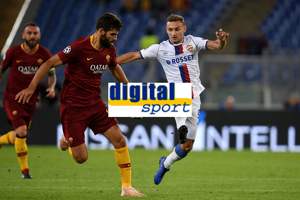 Federico Fazio of AS Roma and Ivan Oblyakov of CSKA compete for the ball during the Uefa Champions League 2018/2019 Group G football match between AS Roma and CSKA Moscow at Olimpico stadium Allianz Stadium, Rome, October, 23, 2018 <br />  Foto Andrea Staccioli / Insidefoto