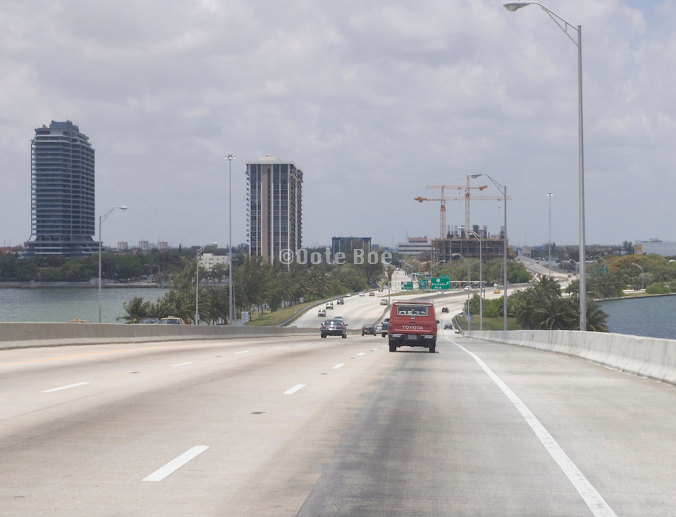 highway going in to Miami Beach Florida USA