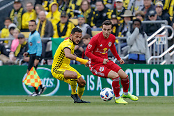 November 4, 2018 - Columbus, OH, U.S. - COLUMBUS, OH - NOVEMBER 04:Columbus Crew midfielder Artur (8) and New York Red Bulls Andreas Ivan battle in the MLS eastern conference semifinals game between the Columbus Crew SC and the New York Red Bulls on November 04, 2018 at Mapfre Stadium in Columbus, OH. The Crew won 1-0. (Photo by Adam Lacy/Icon Sportswire) (Credit Image: © Adam Lacy/Icon SMI via ZUMA Press)