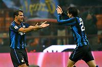 Fotball<br /> Italia<br /> Foto: Insidefoto/Digitalsport<br /> NORWAY ONLY<br /> <br /> L'esultanza di Diego Milito (Inter) per il gol del 2-0 con Dejan Stankovic<br /> Inter player Diego Milito celebrates his 2-0 leading goal with Dejan Stankovic<br /> <br /> Inter v Bologna<br /> 15.01.2011
