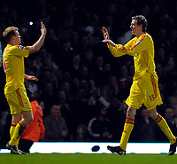 Photo: Alan Crowhurst.<br />West Ham v Liverpool. The Barclays Premiership. 30/01/07. Liverpool's Peter Crouch (R) celebrates his goal.