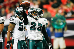 Philadelphia Eagles cornerback Dimitri Patterson #23 reacts after a play during the NFL game between the Philadelphia Eagles and the Atlanta Falcons on December 6th 2009. The Eagles won 34-7 at The Georgia Dome in Atlanta, Georgia. (Photo By Brian Garfinkel)