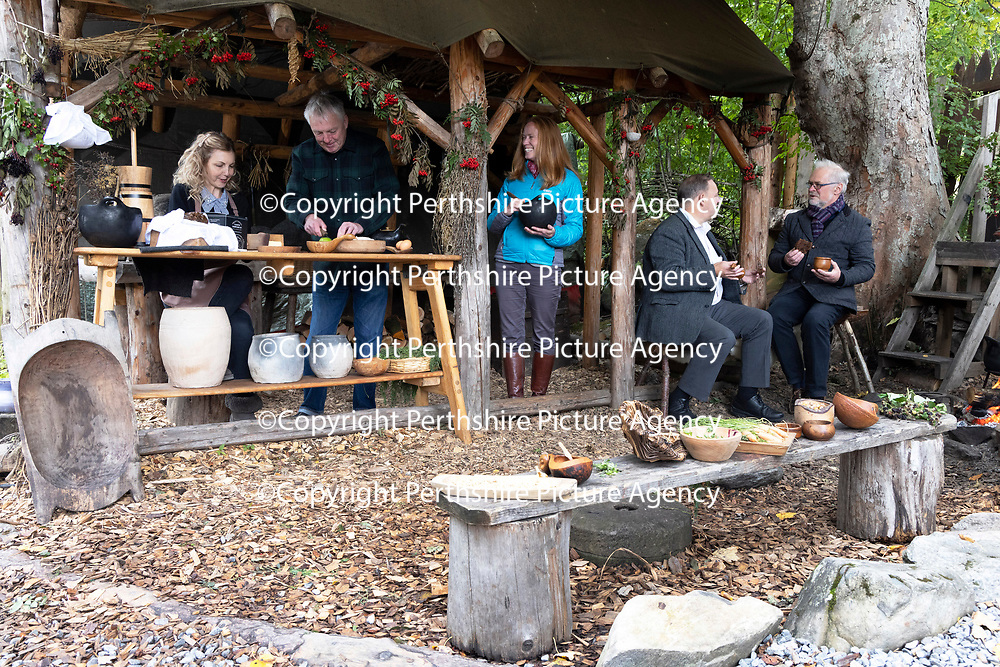 VisitScotland has joined forces with Perth & Kinross Council and tourism businesses across the region to create a Perthshire Tourism Action Plan to tackle the sector's recovery following COVID-19's devastating impact. Pictured from left to right at the Scottish Crannog Centre in Kenmore are Michelle Maddox, owner of Clootie McToot Dumplings, Mike Benson Scottish Crannog Centre Director, Caroline Warburton, VisitScotland Regional Leadership Director, Cllr John Duff, Perth & Kinross Council and David Smythe, Cloag Farm Cottages.<br />For further info please contact Anna Goult at VisitScotland on 07824383873<br />Picture by Graeme Hart.<br />Copyright Perthshire Picture Agency<br />Tel: 01738 623350  Mobile: 07990 594431