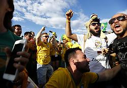 July 2, 2018 - Moscow, Russia - Supporters at Fan Zone - FIFA World Cup Russia 2018.Brazil supporters celebration at Fifa Fan Zone in Moscow, Russia on July 2, 2018. (Credit Image: © Matteo Ciambelli/NurPhoto via ZUMA Press)