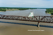 63807-01120 Barge on the Mississippi river crossing under the Thebes bridge Thebes, IL
