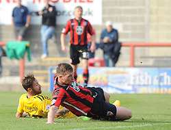 Matty Taylor of Bristol Rovers sees his effort hit the back of the net - Mandatory byline: Neil Brookman/JMP - 07966 386802 - 03/10/2015 - FOOTBALL - Globe Arena - Morecambe, England - Morecambe FC v Bristol Rovers - Sky Bet League Two