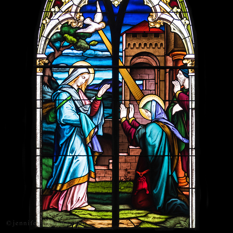 Window 4 on plan.  Based on an illustration from The Bible in Pictures: [Die Bibel in Bildern. London: Norgate and Williams, 1856; Leipzig: Georg Wigands, 1860] by Julius Schnorr von Carolsfeld (1794 –1872).<br /> Holy Redeemer Catholic Church, Bar Harbor, Maine.
