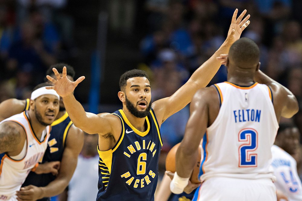 OKLAHOMA CITY, OK - OCTOBER 25:  Cory Joseph #6 of the Indiana Pacers playing defense during a game against the Oklahoma City Thunder at the Chesapeake Energy Arena on October 25, 2017 in Oklahoma City, Oklahoma.  NOTE TO USER: User expressly acknowledges and agrees that, by downloading and or using this photograph, User is consenting to the terms and conditions of the Getty Images License Agreement.  The Thunder defeated the Pacers 114-96.  (Photo by Wesley Hitt/Getty Images) *** Local Caption *** Cory Joseph