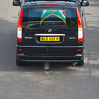 The military hearse carrying the body of Nelson Mandela all the way from 1 Military Hospital to the Union Buildings in Pretoria where former President Nelson Mandela's body is lying in state.His body will be in state for 3 days. Mandela was the first democratically elected president of South Africa.