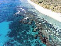 Aerial view of the coral reef surrounding Lady Elliot Island, Great Barrier Reef, Queensland, Australia