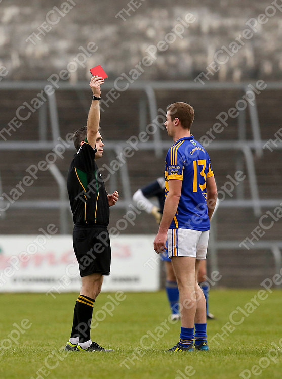 09.03.13<br /> Clare V Tipperary, Cusack Park Ennis. Tipperary Alan Maloney is shown red after a large bust up involving both teams against Clare. Picture: Alan Place/Press 22.