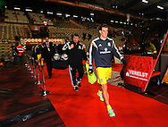 Wales' Gareth Bale comes out to warm up<br /> <br /> - European Qualifier - Belgium vs Wales- Heysel Stadium - Brussels - Belgium - 16th November 2014  - Picture David Klein/Sportimage