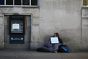 Homeless people in the United Kingdom facing the risk of death from Coronavirus. Last years alone, 320,000 people were recorded as homeless in Britain, analysis from housing charity Shelter suggests. It is a rise of 13,000, or 4%, on last year's figures and equivalent to 36 new people becoming homeless every day.<br /> In this picture, a homeless man is seating at the Borough Market on Sunday, March 22, 2020. For most people, the new coronavirus causes only mild or moderate symptoms, such as fever and cough. For some, especially older adults and people with existing health problems, it can cause more severe illness, including pneumonia. <br /> (Photo/Vudi Xhymshiti)