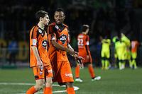 Deception Vincent LE GOFF / Jordan AYEW - 20.12.2014 - Lorient / Nantes - 17eme journee de Ligue 1 -<br />Photo : Vincent Michel / Icon Sport