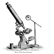 Fig. 56. How's Students Microscope From the book '  The microscope : its history, construction, and application ' by Hogg, Jabez, 1817-1899 Published in London by G. Routledge in 1869 with Illustrations by TUFFEN WEST