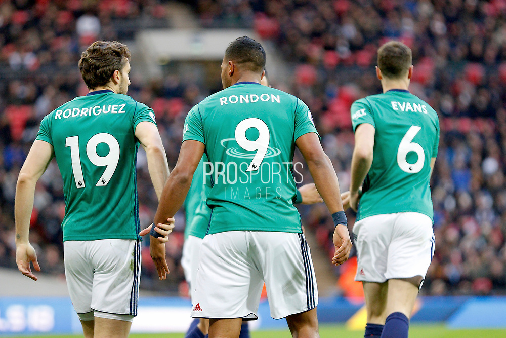West Bromwich Albion players celebrate a goal from (score 0-1) during the Premier League match between Tottenham Hotspur and West Bromwich Albion at Wembley Stadium, London, England on 25 November 2017. Photo by Andy Walter.