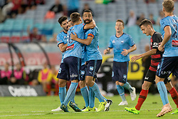 December 15, 2018 - Sydney, NSW, U.S. - SYDNEY, NSW - DECEMBER 15: Sydney FC forward Alex Brosque (14) celebrates his goal at the Hyundai A-League Round 8 soccer match between Western Sydney Wanderers FC and Sydney FC at ANZ Stadium in NSW, Australia on December 15, 2018. (Photo by Speed Media/Icon Sportswire) (Credit Image: © Speed Media/Icon SMI via ZUMA Press)
