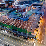 20th & Main downtown Kansas City construction site of Hilton Home2 Suites Hotel and extended stay property. Developed by Sunflower Development Group/Main Lodging Partners, and True North Hotel Group.