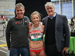 New Balance Indoor Grand Prix<br /> Staten Island, New York, February 13, 2021<br /> womens 2 Mile, Elle Purrier, New Balance, sets new American record of 9:10.28, coach Mark Coogan, agent Ray Flynn