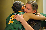 April 4, 2016; Indianapolis, Ind.; Adriana Dent is consoled by assistant coach Alysa Horn after the Seawolves fell to Lubbock Christian 78-73 the NCAA Division II Women's Basketball National Championship game at Bankers Life Fieldhouse.