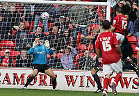 Photo: Paul Thomas.<br /> Walsall v Southend. Coca Cola League 1.<br /> 13/08/2005.<br /> <br /> Matthew Frayett puts a goal past Southend keeper Daryl Flahavan.