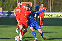 Football - 2023 UEFA U21 Championship - Qualifying - Group E - Wales vs Moldova - Steboneath Park, Llanelli<br /> <br /> Edward Jones Wales defends  Iosipoi Moldova on the attack<br /> <br /> COLORSPORT/WINSTON BYNORTH