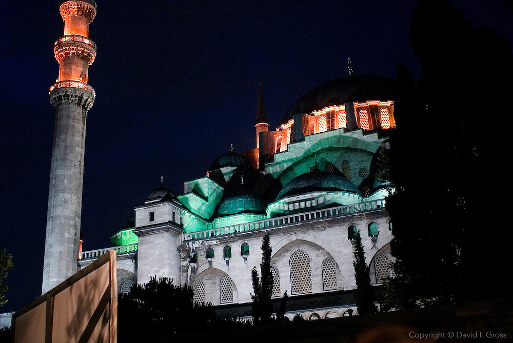 The Suleyman Mosque in Istanbul, Turkey, at night.