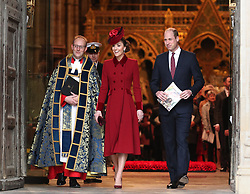 The Duke and Duchess of Cambridge leaving after the Commonwealth Service at Westminster Abbey, London on Commonwealth Day. The service is the Duke and Duchess of Sussex's final official engagement before they quit royal life.