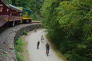 Historic train ride and bikers, Jim Thorpe, Carbon County, PA, USA