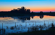 Dusk over wetland<br /> Lamont County<br /> Alberta<br /> Canada