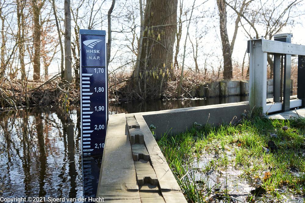 Waterpeilmeter in een sloot in de polder van de Krimpenerwaard.   Water level gauge in a ditch in the polder of the Krimpenerwaard, South-Holland, Netherlands