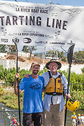 LA Expedtions founder George Wolfe and Ed Begley Jr.. The 1st annual LA River Boat Race was held on August 30, 2014 on a 3/4 mile course consisting of small rapids and flat water located along a stretch of the river along the Glendale Narrows in the Elysian Valley. Almost a 100 participants competed in a variety of classifications that included Mens and Womens Advanced, Intermediate and Beginners as well as Youth, Tandem and Stand-Up Paddle boat. Noted Environmentalist Ed Begley Jr. kicked off the race as the first participant, which had racers going down the course solo and racing against the clock. The race was organized by L.A. River Expeditions which was founded by George Wolfe who led the 2008 LA River Expedition that led to the river being classified as a navigable river by the EPA and consequently protected under the clean water Act.