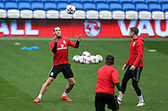 Gareth Bale of Wales (l) in action  during the Wales football team training at the Cardiff city Stadium in Cardiff , South Wales on Saturday 8th October 2016, the team are preparing for their FIFA World Cup qualifier home to Georgia tomorrow. pic by Andrew Orchard, Andrew Orchard sports photography