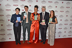 28 January 2020 - Winners Mary Jean Chan, Jack Fairweather, Sara Collins, Jonathan Coe and Jasbinder Bilan at the Costa Book Awards 2019 held at Quaglino's, 16 Bury Street, London.<br /> <br /> Photo by Dominic O'Neill/Desmond O'Neill Features Ltd.  +44(0)1306 731608  www.donfeatures.com
