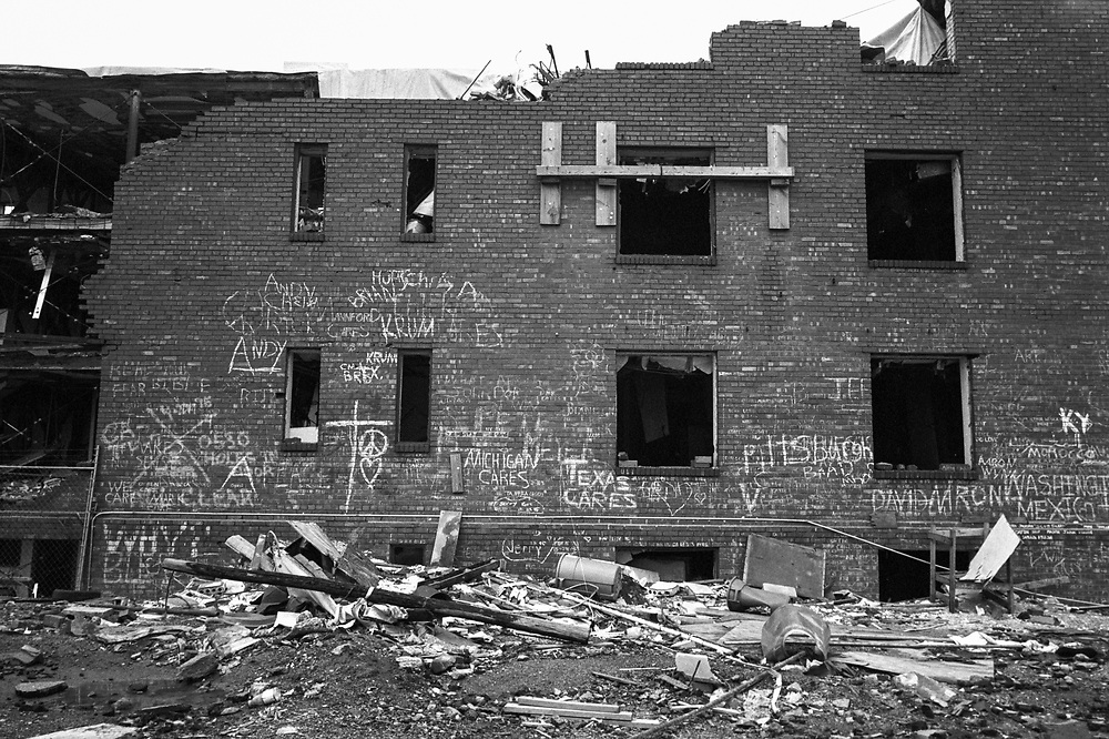 Ruins Alfred P. Murrah Federal Building in Oklahoma City, destroyed in the bombing by Timothy McVeigh