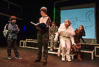 """Santiago McCulloch as Eric, Maggie A. Godsoe as Carter and Shyann Perez, Christa Walker and Sophie Pankhurst as cat ensemble during dress rehearsal for """"Boy Who Drew Cats"""" at the Winnipesaukee Playhouse on Wednesday evening.  (Karen Bobotas/for the Laconia Daily Sun)"""