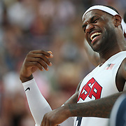 Lebron James, USA, celebrates victory during the Men's Basketball Final between USA and Spain at the North Greenwich Arena during the London 2012 Olympic games. London, UK. 12th August 2012. Photo Tim Clayton