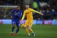 Paul Gallagher of Preston North End in action. EFL Skybet championship match, Cardiff city v Preston North End at the Cardiff city stadium in Cardiff, South Wales on Friday 29th December 2017.<br /> pic by Andrew Orchard, Andrew Orchard sports photography.