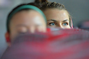 April 4, 2016; Indianapolis, Ind.; Hannah Wanders looks out the window of the team bus before their game against Lubbock Christian in the NCAA Division II Women's Basketball National Championship game at Bankers Life Fieldhouse.