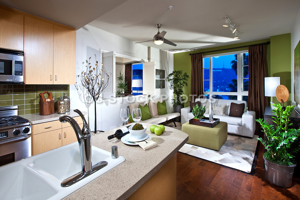 High Rise Living Room And Kitchen With A View