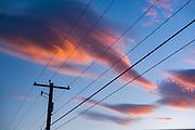 Evening clouds, power pole and lines, June, Ediz Hook, Port Angeles, Washington, USA