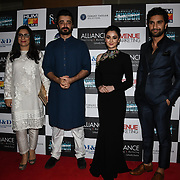 "Producer and Hamza Ali ,Hania Amir and Ahad Raza Mir star of the movie attend Photocall in London Premiere of ""Parwaaz Hai Junoon"" (Soaring Passion) as featured on SKY, ITV at The May Fair Hotel, Stratton Street, London, UK. 22 August 2018."