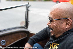 Aki Sakamoto in a '32 Roadster on a ride around Tokyo with friends of the Freewheelers And Company shop. Tokyo, Japan. December 8, 2015.  Photography ©2015 Michael Lichter.